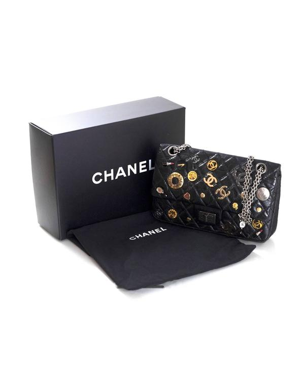 Chanel Rare Collector's Black CC Lucky Charm Reissue 2.55 Double Flap 225 Bag For Sale 6