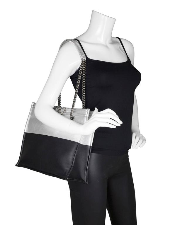 Chanel Black and Silver Leather Boy Tote Bag rt. $4,200 2
