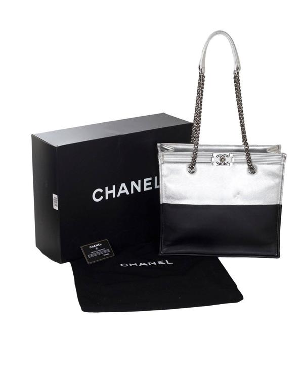 Chanel Black and Silver Leather Boy Tote Bag rt. $4,200 10