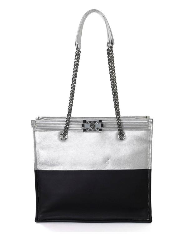 Chanel Black and Silver Leather Boy Tote Bag rt. $4,200 3