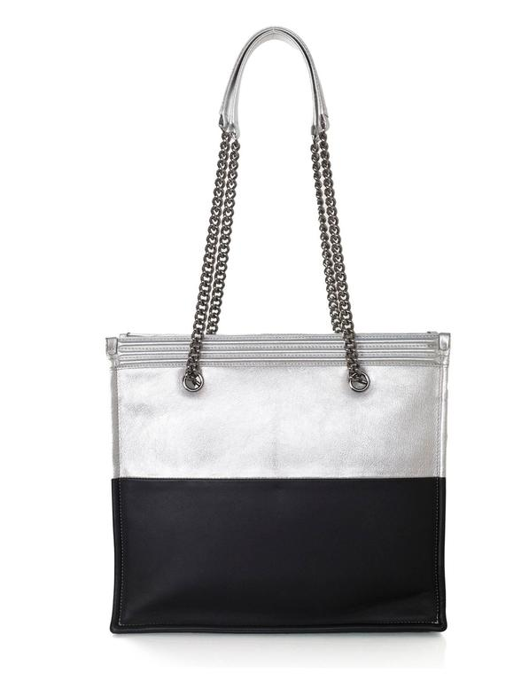 Chanel Black and Silver Leather Boy Tote Bag rt. $4,200 5