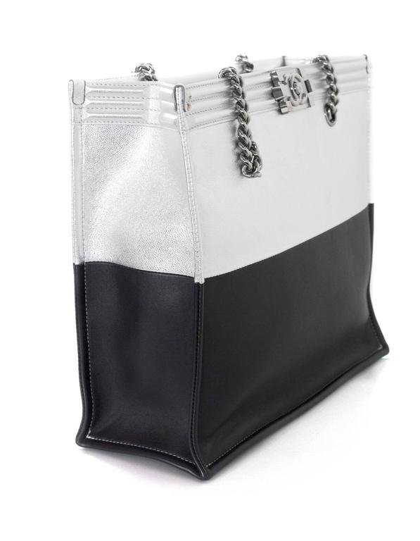 Chanel Black and Silver Leather Boy Tote Bag rt. $4,200 4