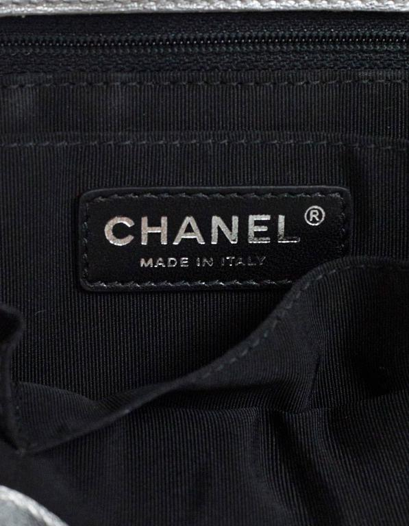 Chanel Black and Silver Leather Boy Tote Bag rt. $4,200 9