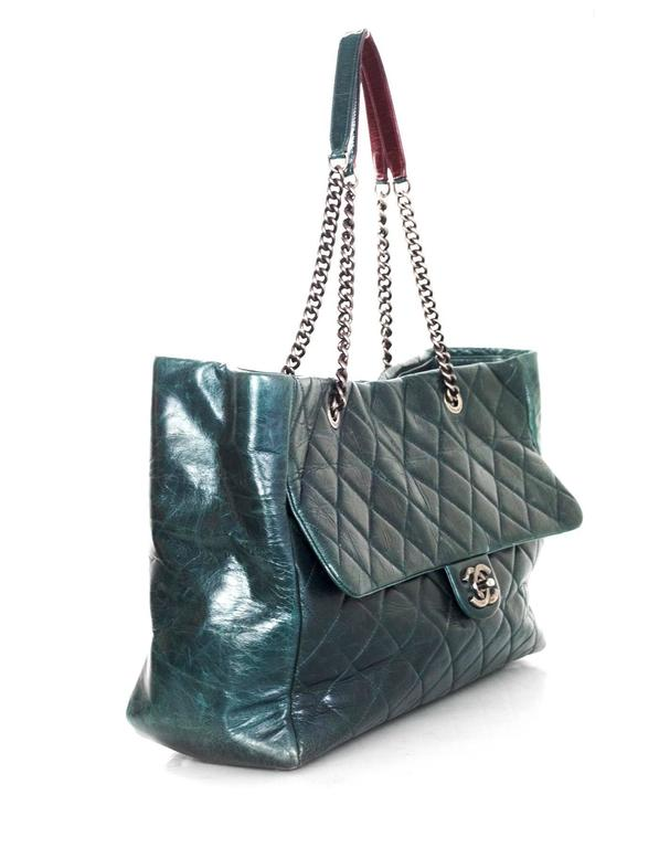 Black Chanel Green Distressed Leather Quilted CC Tote Bag For Sale