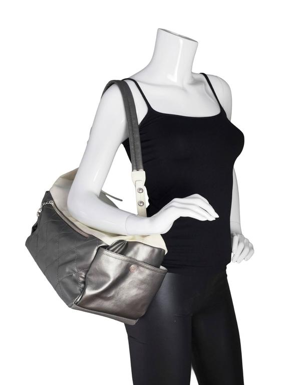 Chanel Silver and Ivory  Paris-Biarritz Large Hobo Bag 2