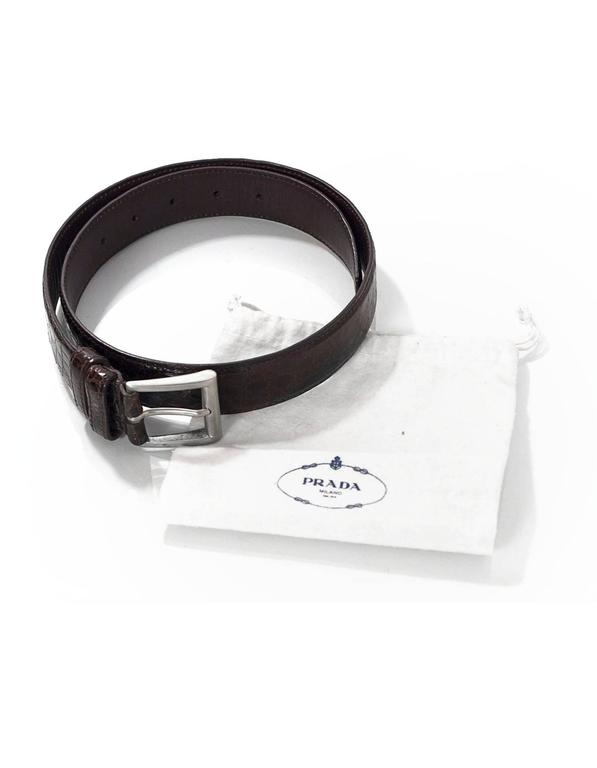 Prada Brown Crocodile Belt sz 75 For Sale 3