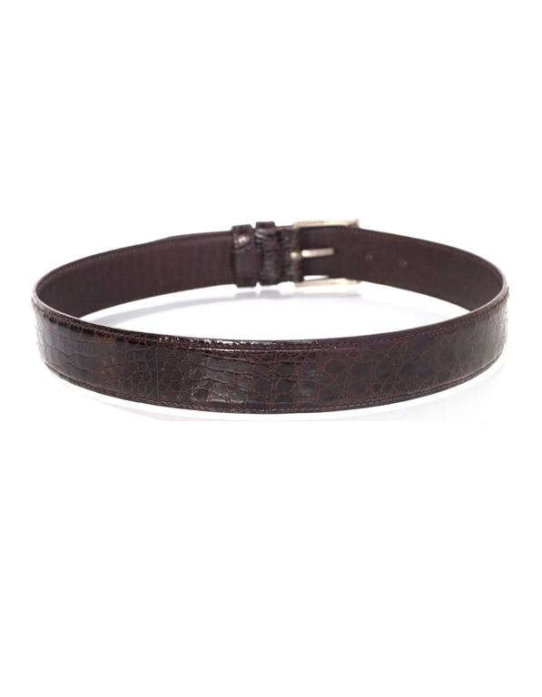 Black Prada Brown Crocodile Belt sz 75 For Sale