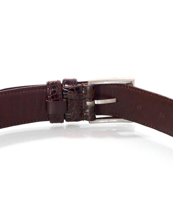 Prada Brown Crocodile Belt sz 75 In Excellent Condition For Sale In New York, NY