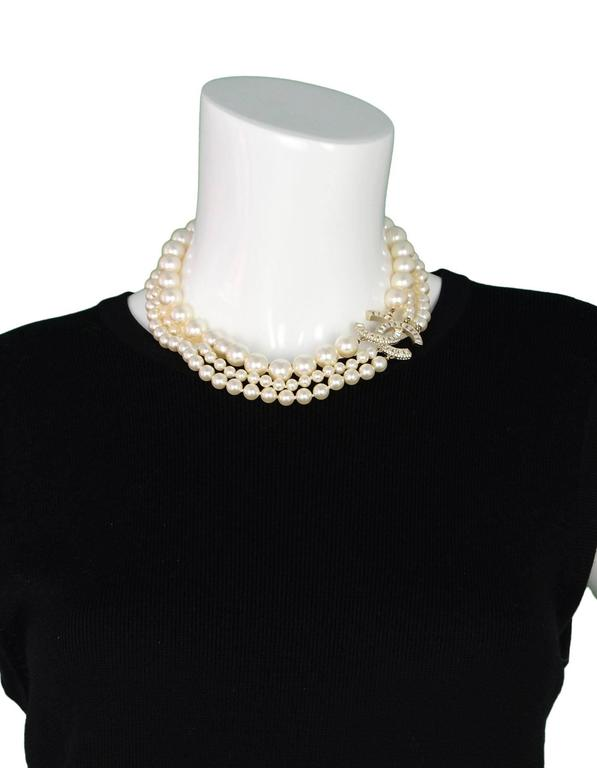 Chanel 3 Strand Faux Pearl And Crystal Cc Choker Necklace