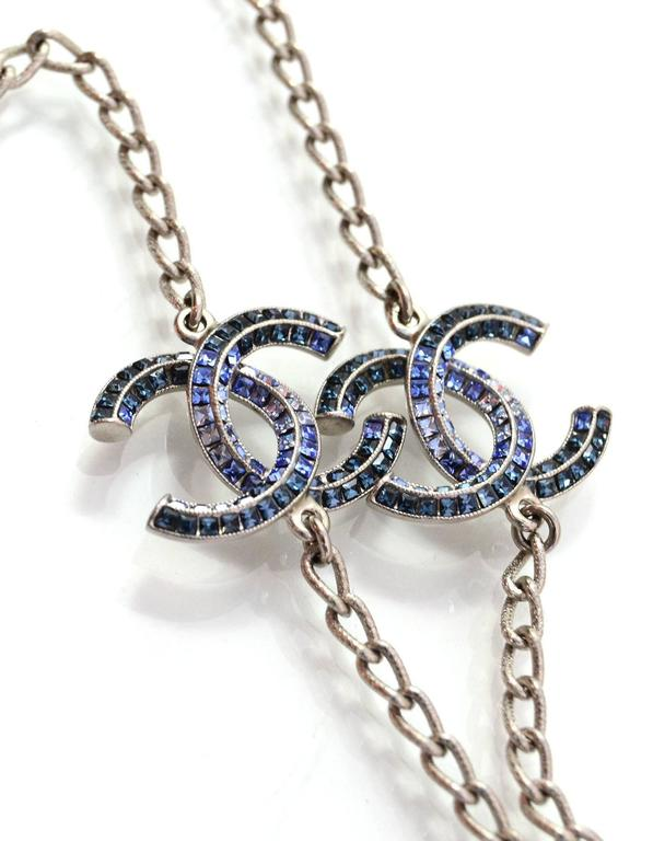 Chanel long silver chain link and blue ombre crystal cc necklace for 100 authentic chanel long silver chain link crystal cc necklace two cc pendants aloadofball Gallery