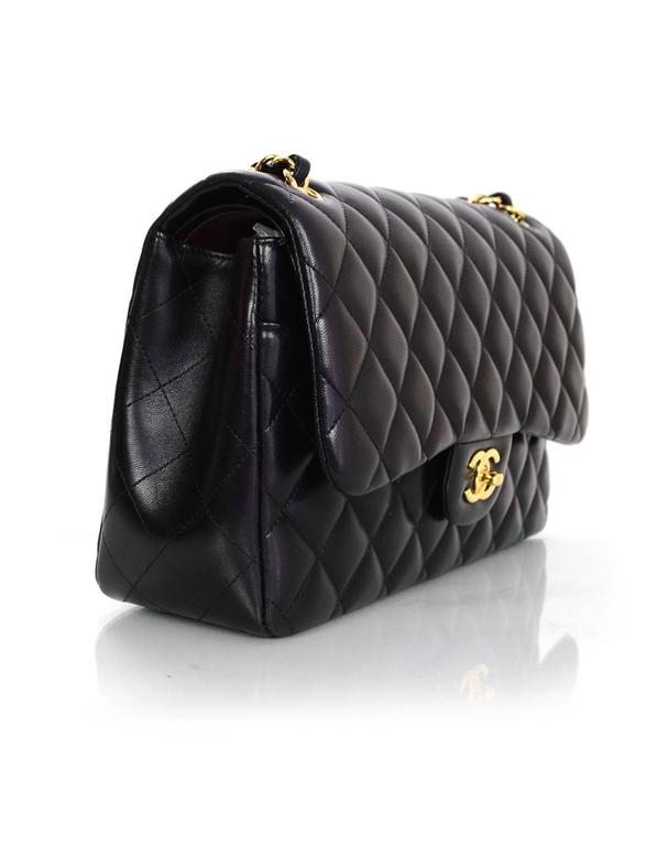 5a136d43d Chanel Black Quilted Lambskin Double Flap Classic Jumbo Bag with GHW In  Excellent Condition For Sale