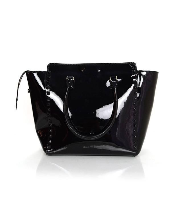 06c8cfd6f659f Women s Valentino Black Patent Leather Medium Rockstud Tote Bag w  Strap  For Sale