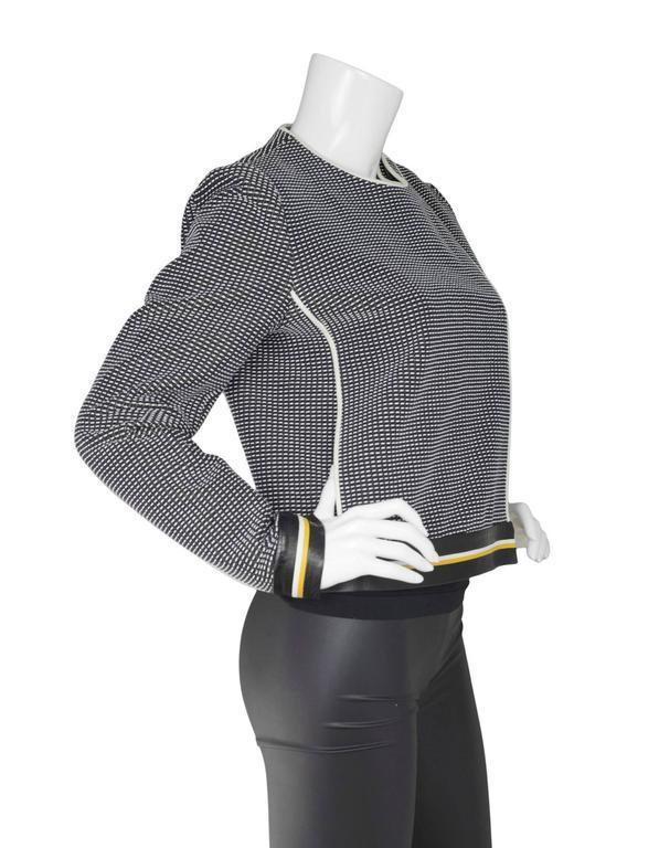 Fendi Navy Black & White Knit Jacket w/ Leather Trim sz IT42 3