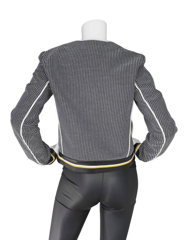 Fendi Navy Black & White Knit Jacket w/ Leather Trim sz IT42 4