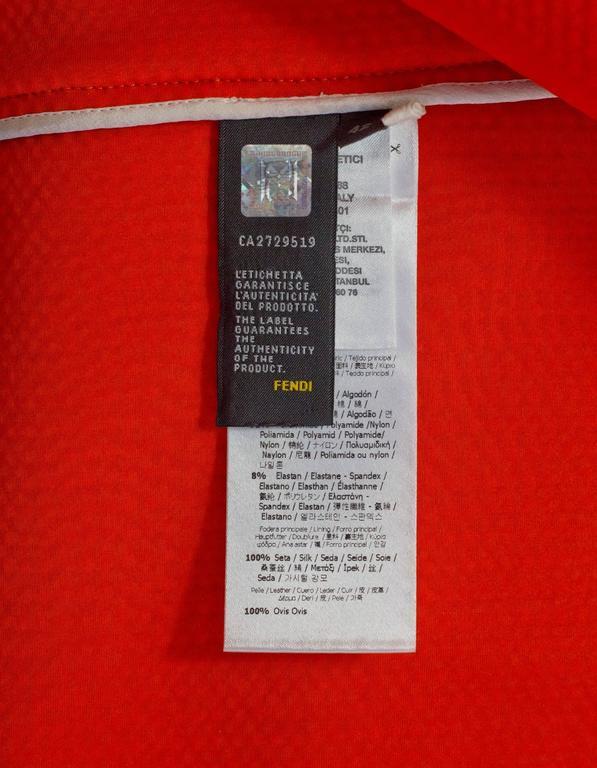 Fendi Navy Black & White Knit Jacket w/ Leather Trim sz IT42 6