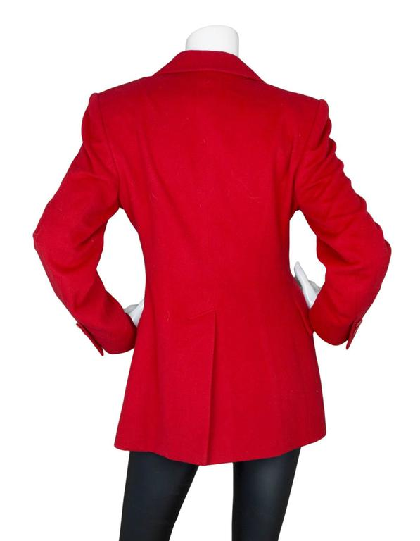 Hermes Red Cashmere Riding Jacket sz FR40 In Excellent Condition For Sale In New York, NY