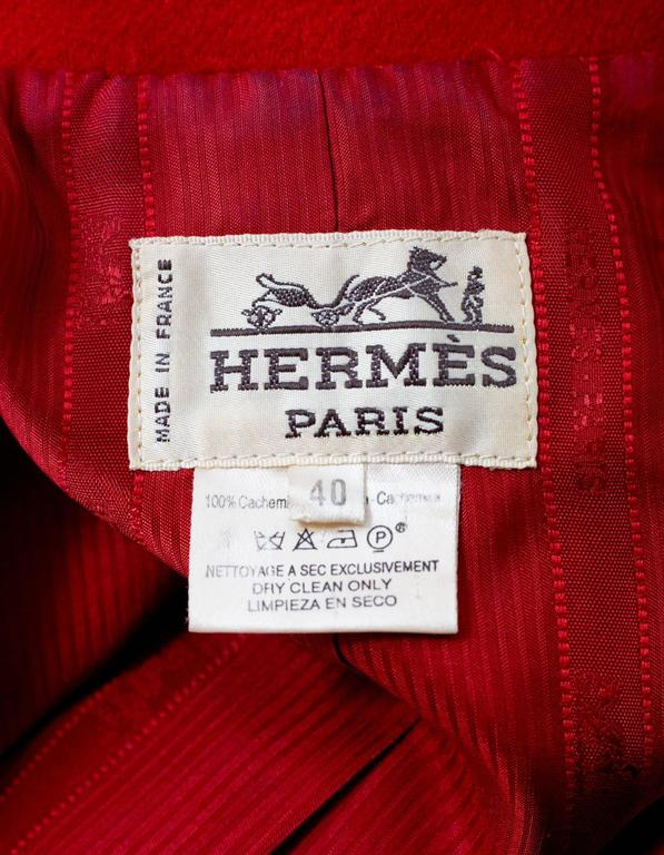 Women's Hermes Red Cashmere Riding Jacket sz FR40 For Sale