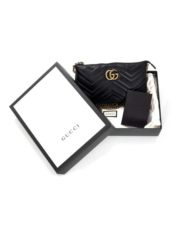 Gucci Black Marmont Mini Matelasse Crossbody Bag Confederated