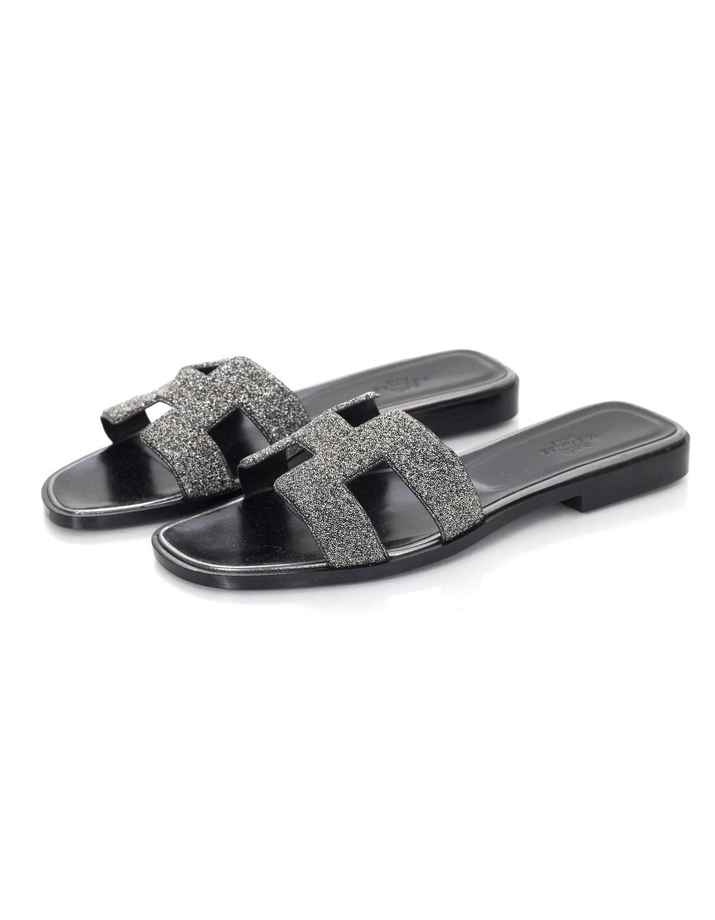 a52f0f500cba Hermes Black and Grey Crystal Powder Oran H Sandals Sz 37.5 rt ...