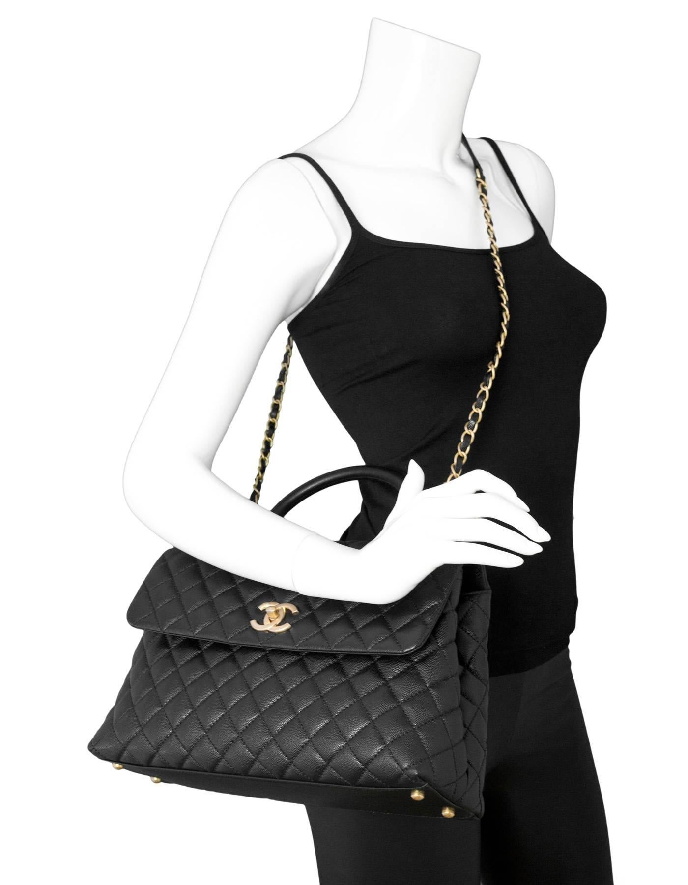 7b276dd43855 Chanel 2017 Black Quilted Caviar Leather Medium Coco Handle Flap Bag For  Sale at 1stdibs