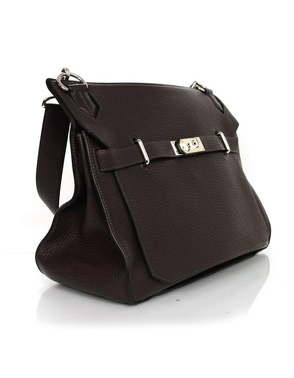 Hermes Brown Clemence 34cm Jypsiere Crossbody Features buckled adjustable shoulder strap  Made In: France Year of Production: 2008 Color: Brown Hardware: Palladium Materials: Clemence leather Lining: Brown chevre leather Closure/Opening: Flap top
