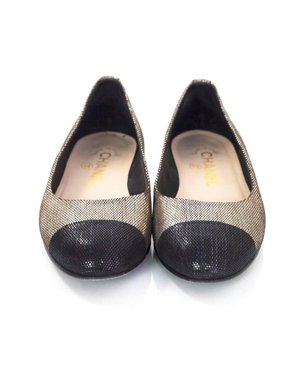 Women's Chanel Black and Gold Metallic Cap Toe Flats Sz 36 For Sale