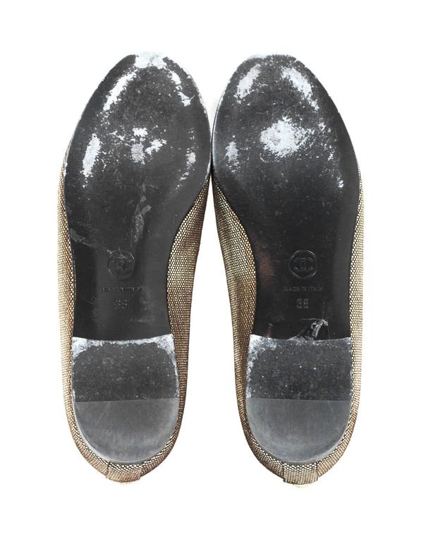 Chanel Black and Gold Metallic Cap Toe Flats Sz 36 For Sale 3