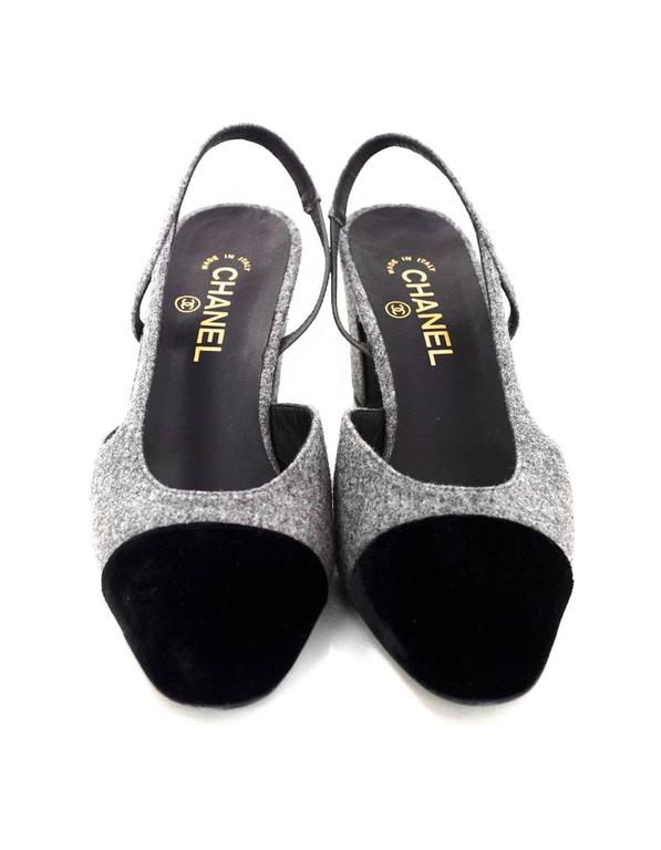 Women's 5/9 Chanel Black and Grey Slingback Pumps Sz 41 For Sale
