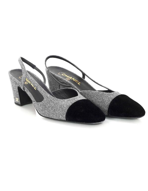5/9 Chanel Black and Grey Slingback Pumps Sz 41 For Sale 1