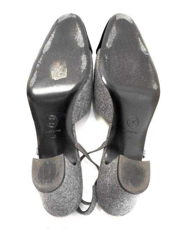 5/9 Chanel Black and Grey Slingback Pumps Sz 41 For Sale 3