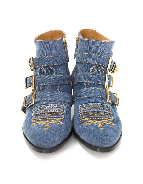 Chloe NEW Blue Denim Susanna Ankle Buckle Booties RT. $1,445 4