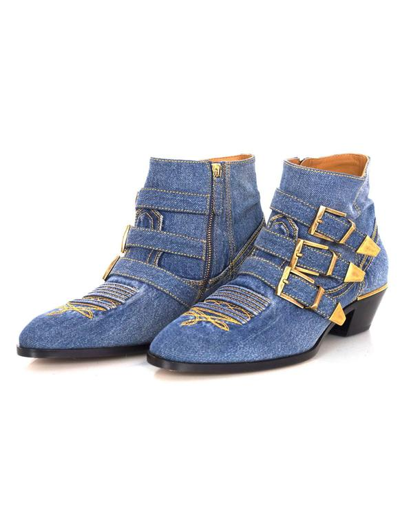 Chloe NEW Blue Denim Susanna Ankle Buckle Booties RT. $1,445 3