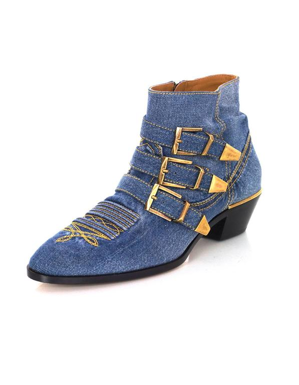 Chloe NEW Blue Denim Susanna Ankle Buckle Booties RT. $1,445 2