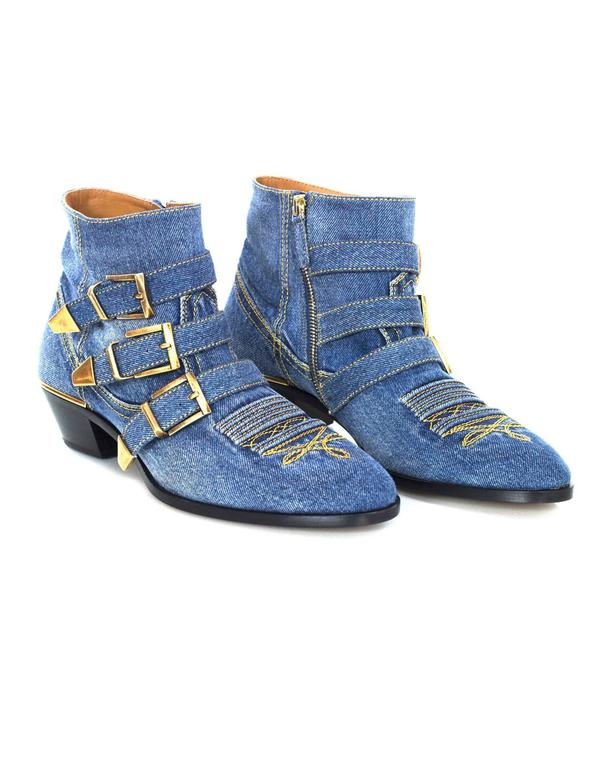 Chloe NEW Blue Denim Susanna Ankle Buckle Booties RT. $1,445 5
