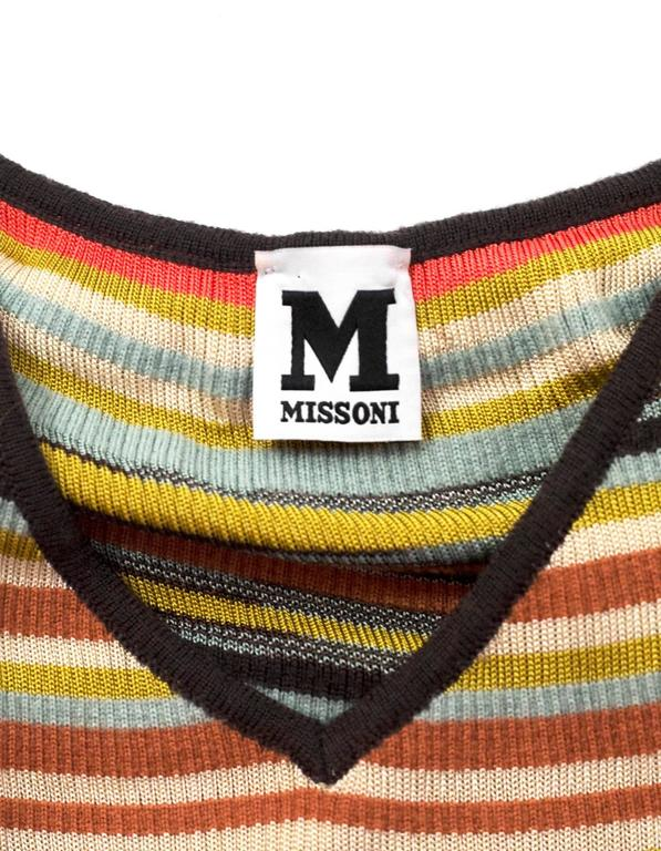 M Missoni Multi-Color V-Neck Top Sz 40 4