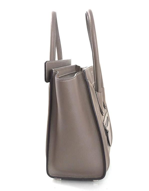 Gray Celine Grey Drummed Calfskin Micro Luggage Tote Bag For Sale