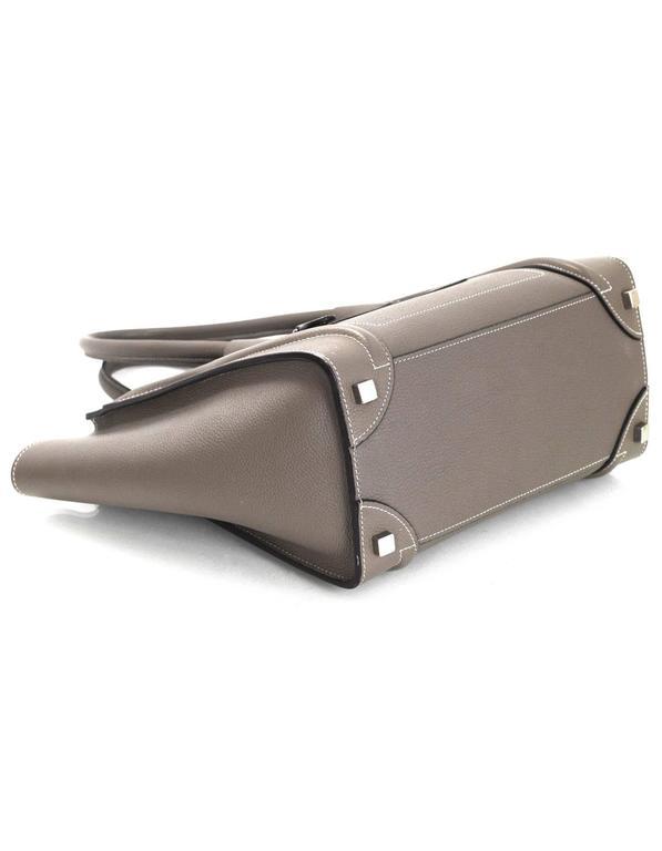 Women's Celine Grey Drummed Calfskin Micro Luggage Tote Bag For Sale