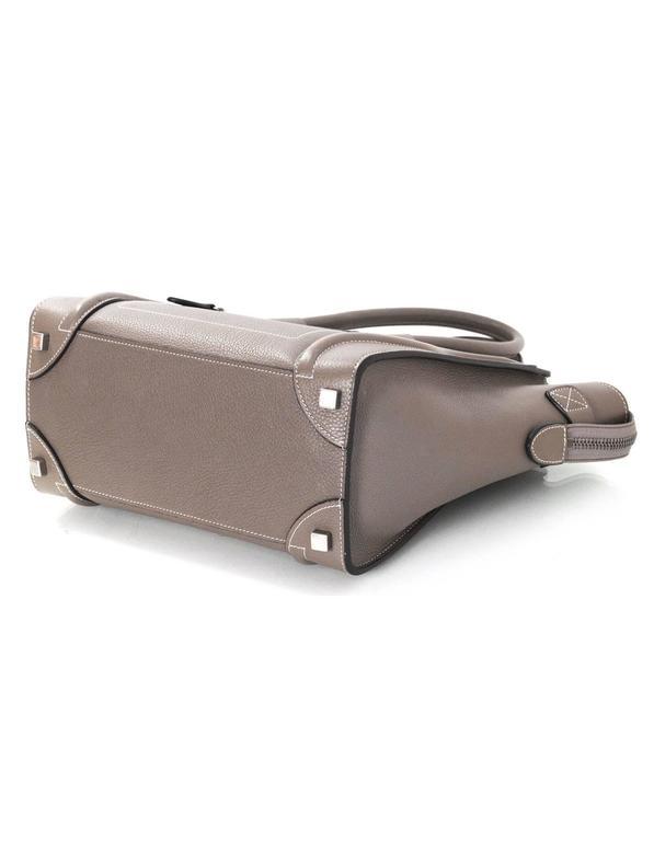 Celine Grey Drummed Calfskin Micro Luggage Tote Bag 6