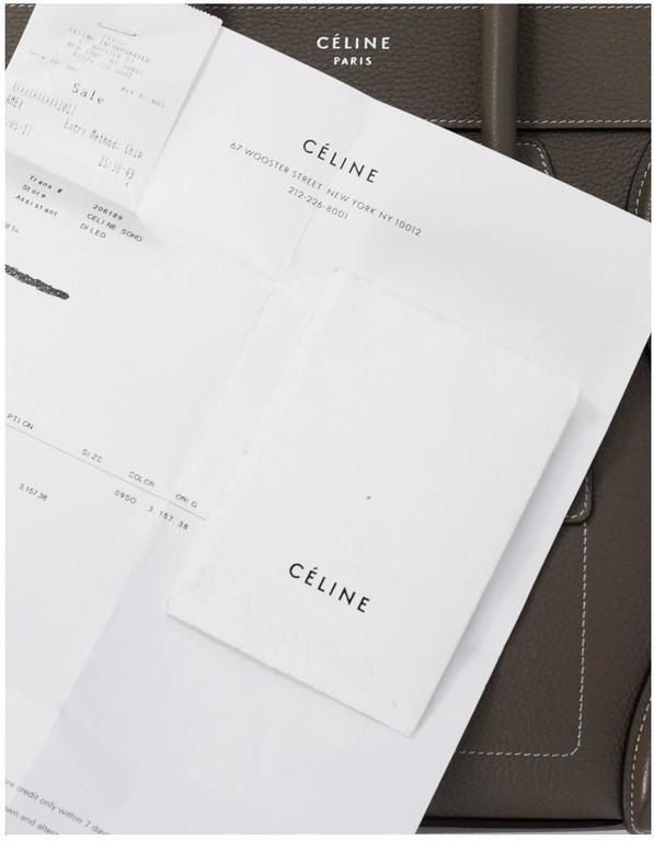 Celine Grey Drummed Calfskin Micro Luggage Tote Bag For Sale 4