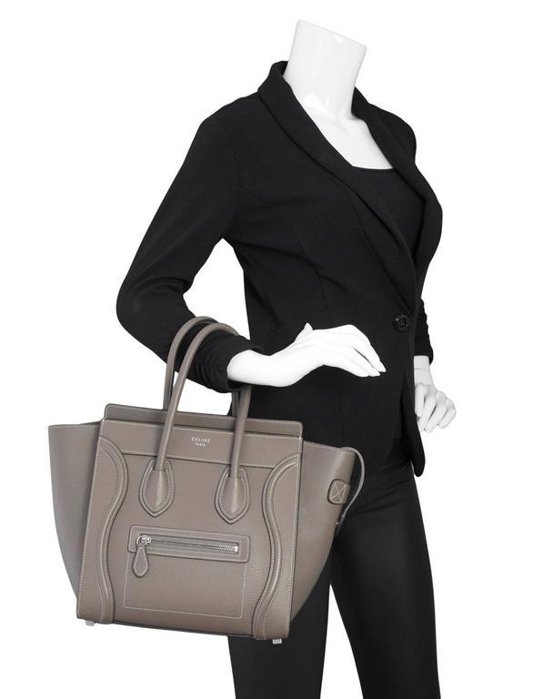 Celine Grey Drummed Calfskin Micro Luggage Tote Bag 2