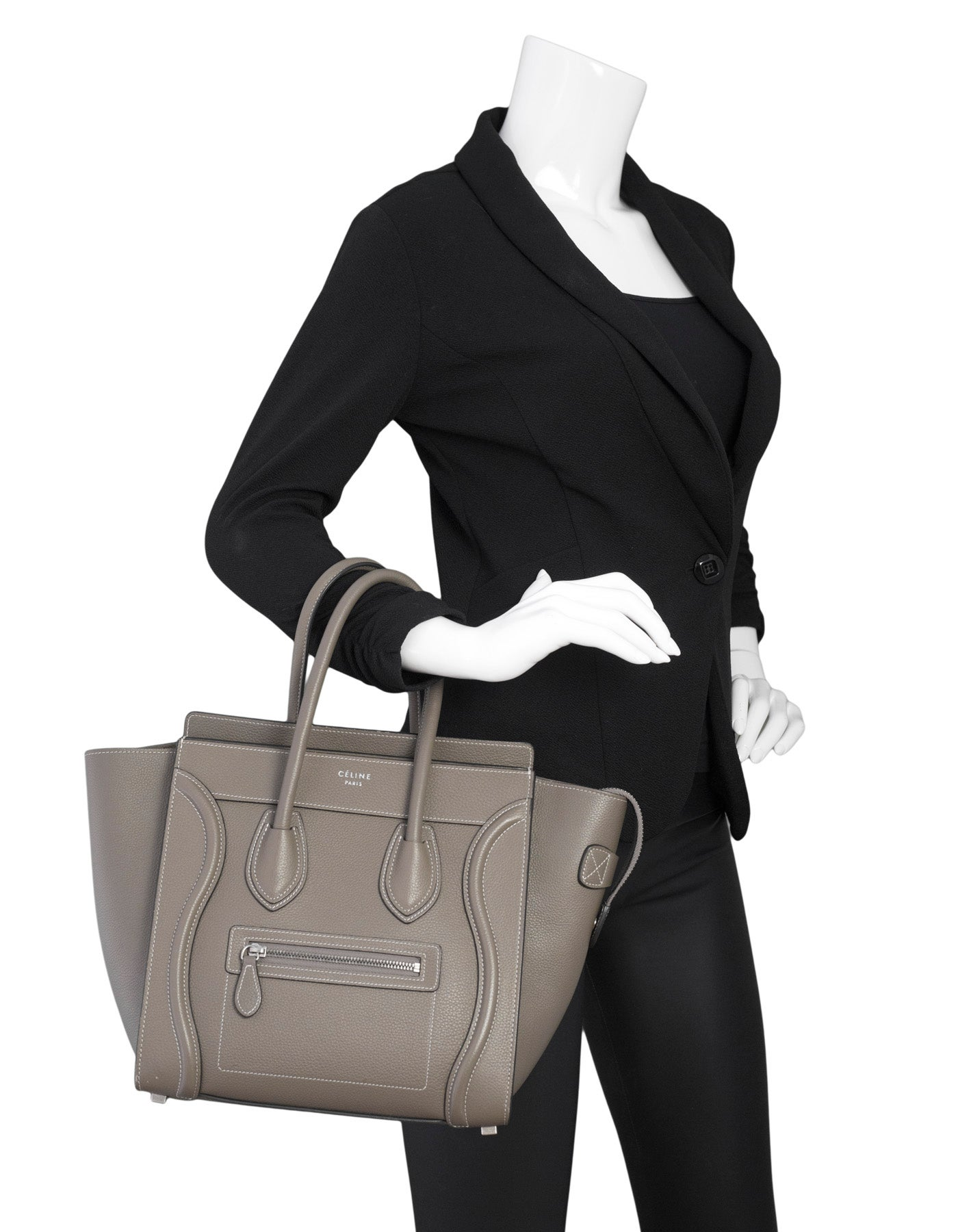 3446ad4e83 Celine Grey Drummed Calfskin Micro Luggage Tote Bag For Sale at 1stdibs