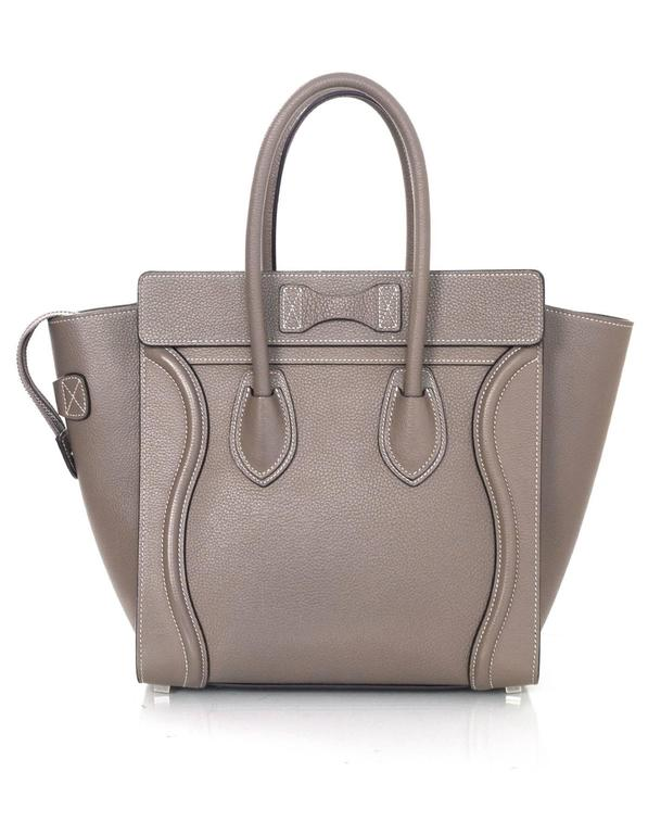 Celine Grey Drummed Calfskin Micro Luggage Tote Bag In Excellent Condition For Sale In New York, NY