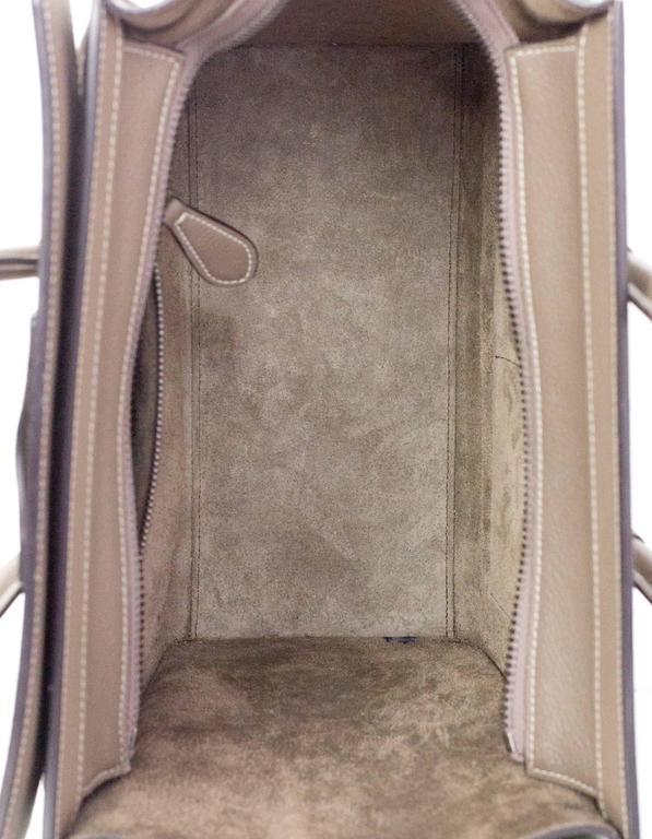 Celine Grey Drummed Calfskin Micro Luggage Tote Bag For Sale 2