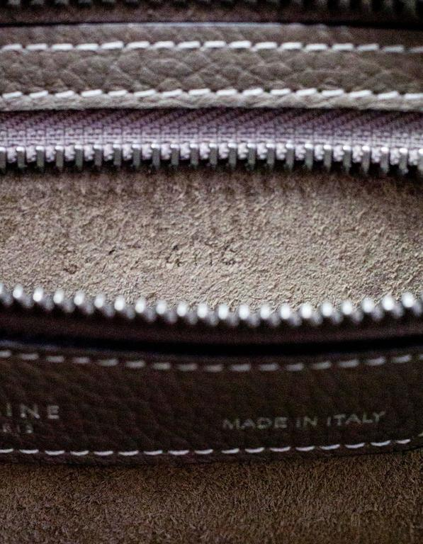 Celine Grey Drummed Calfskin Micro Luggage Tote Bag For Sale 5