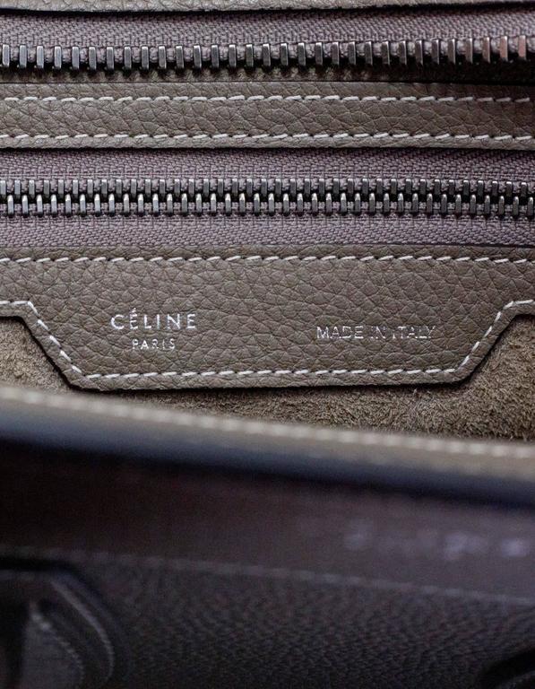 Celine Grey Drummed Calfskin Micro Luggage Tote Bag For Sale 3