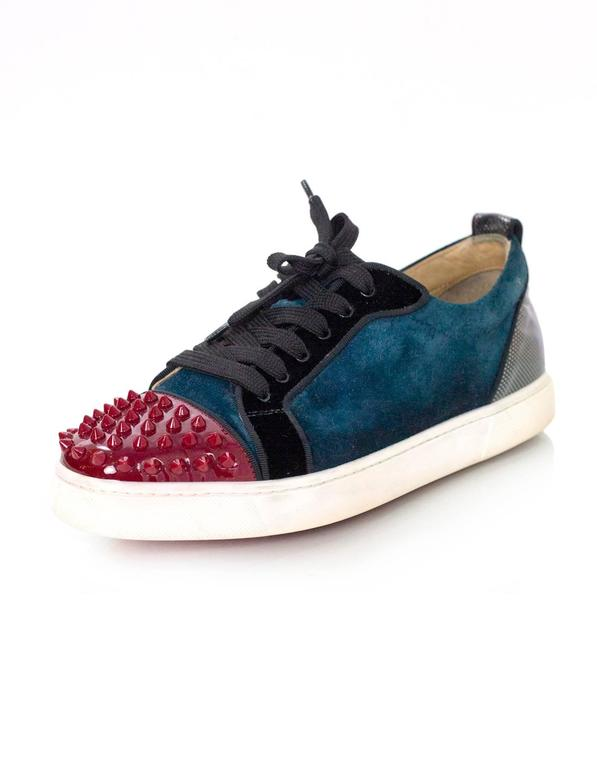 best loved 6c741 4aaed Christian Louboutin Teal & Red Louis Jr Spike Sneakers Sz 40 rt. $795