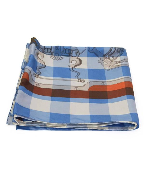 """Hermes Collectors Blue/White/Orange 40"""" Gingham Mors & Gourmettes Scarf In Excellent Condition For Sale In New York, NY"""