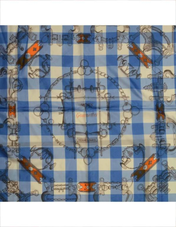 """Gray Hermes Collectors Blue/White/Orange 40"""" Gingham Mors & Gourmettes Scarf For Sale"""