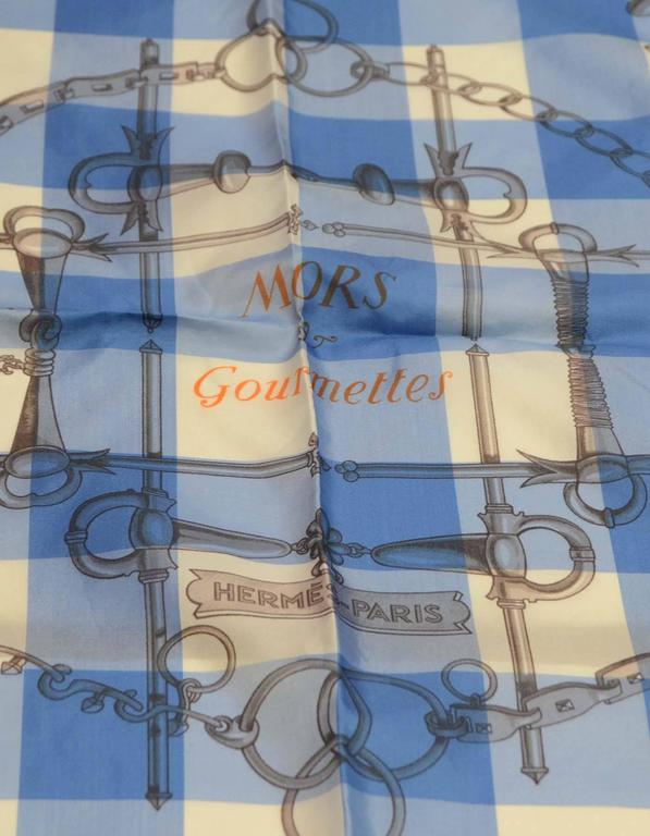 """Women's Hermes Collectors Blue/White/Orange 40"""" Gingham Mors & Gourmettes Scarf For Sale"""