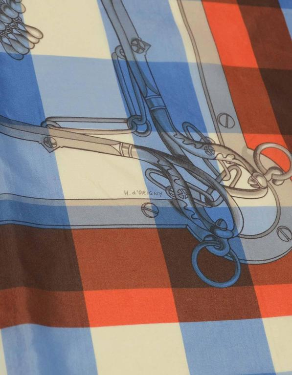 """Hermes Collectors Blue/White/Orange 40"""" Gingham Mors & Gourmettes Scarf For Sale 1"""